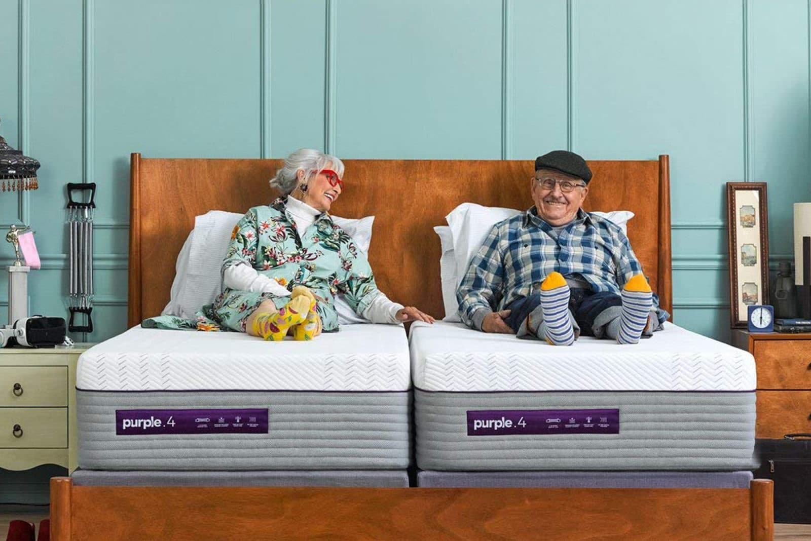 elderly couple on their Purple bed