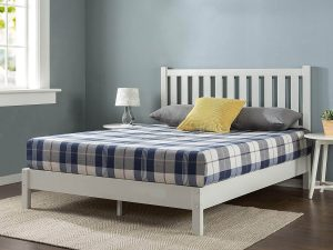 white bed frame with headboard