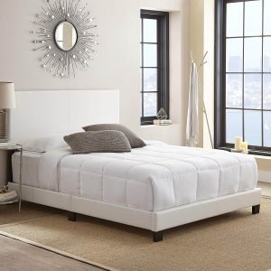 white leather bed frame