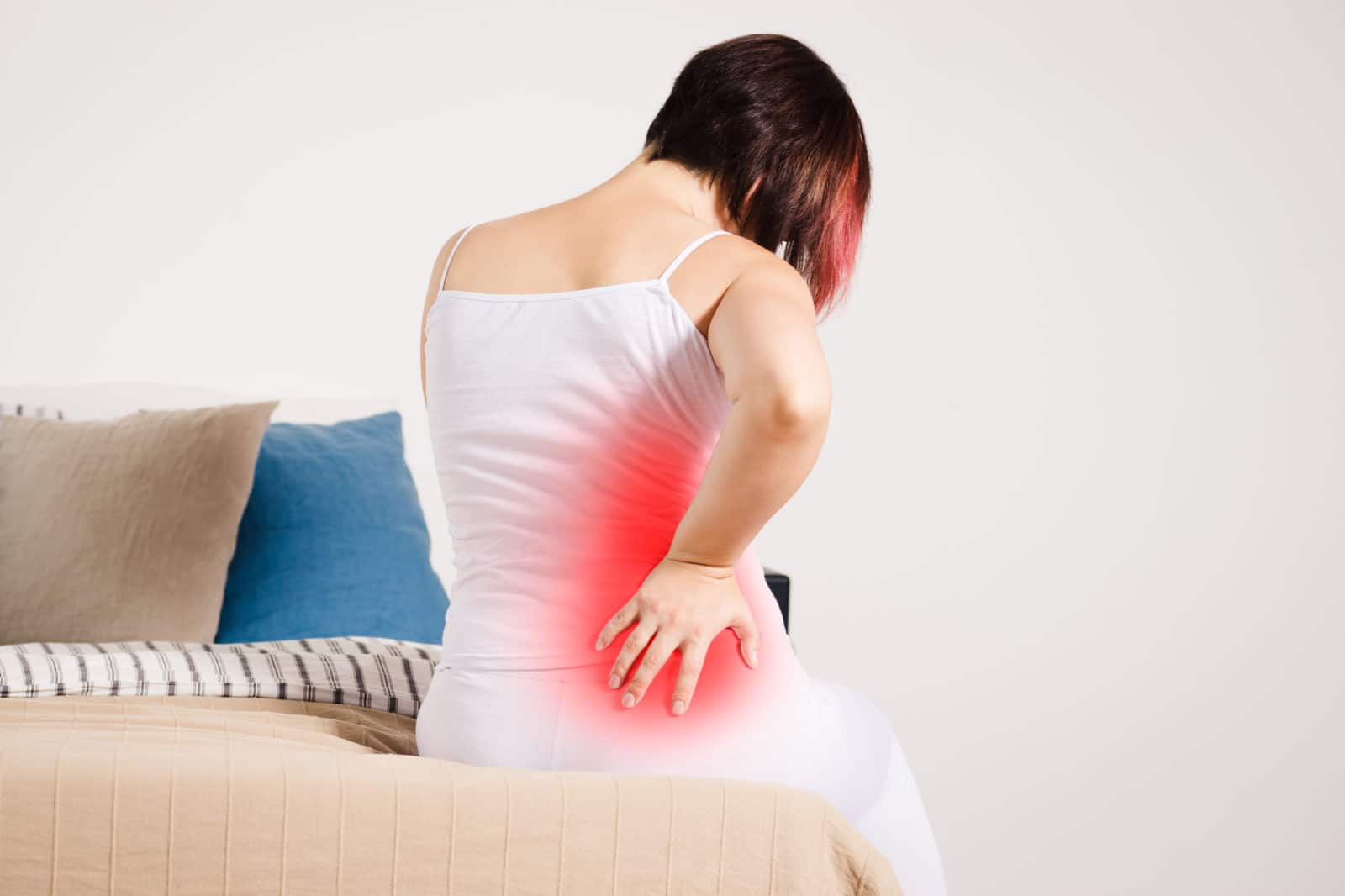 a lady with a back pain